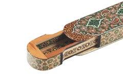 Fragmento del caso de madera en el tecnics de Khatam foto de archivo libre de regalías