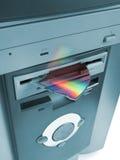 Fragmento del Cd en mecanismo impulsor flojo Fotos de archivo