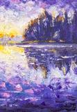 Fragmento del cuchillo de paleta que pinta las ilustraciones púrpuras violetas azules del ejemplo del arte del backgroud abstract Fotografía de archivo libre de regalías