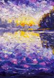 Fragmento del cuchillo de paleta que pinta las ilustraciones púrpuras violetas azules del ejemplo del arte del backgroud abstract Foto de archivo libre de regalías