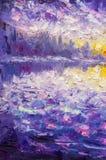Fragmento del cuchillo de paleta que pinta las ilustraciones púrpuras violetas azules del ejemplo del arte del backgroud abstract Fotografía de archivo