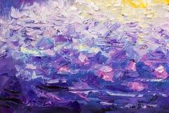 Fragmento del cuchillo de paleta que pinta las ilustraciones púrpuras violetas azules del ejemplo del arte del backgroud abstract Imagen de archivo libre de regalías