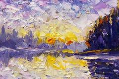 Fragmento del cuchillo de paleta que pinta las ilustraciones púrpuras violetas azules del ejemplo del arte del backgroud abstract Foto de archivo