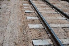 Fragmento del ferrocarril Carriles y durmientes imagen de archivo libre de regalías