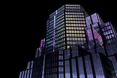 Fragmento del fondo de un rascacielos con los vidrios coloreados Fotos de archivo
