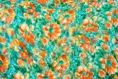 Fragmento del modelo retro colorido de la materia textil de la tapicería con el handmad Fotos de archivo