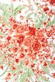 Fragmento del modelo retro colorido de la materia textil de la tapicería con floral Imagen de archivo libre de regalías