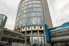 Fragmento del ` moderno 2000 de la torre del ` del rascacielos en el centro de negocio internacional de Moscú MIBC Rusia Imagen de archivo libre de regalías