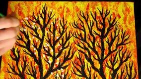Fragmento del proceso de pintura de la imagen de la energía Pinturas acrílicas vídeo