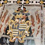 Fragmento do assoalho de mármore da catedral católica principal em Valletta, Malta foto de stock