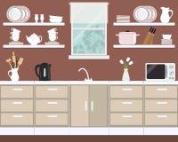 Fragmento do interior da cozinha em uma cor marrom ilustração stock