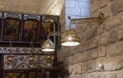 Fragmento do interior da igreja Católica grega no ilya do ` do MI em Israel Imagens de Stock Royalty Free