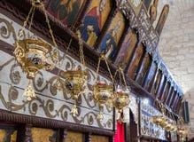 Fragmento do interior da igreja Católica grega no ilya do ` do MI em Israel Fotos de Stock