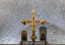 Fragmento do interior da igreja Católica grega no ilya do ` do MI em Israel Fotos de Stock Royalty Free