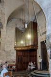 Fragmento do interior da igreja do sepulcro santamente no Jerusalém, Israel Fotografia de Stock