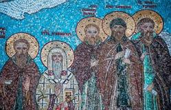 Fragmento do mosaico com Saint em Tolga Monastery foto de stock royalty free