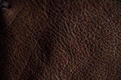 Fragmento macro de um saco de couro ou de uma bolsa Feito a mão, fundo da textura Fotografia de Stock