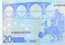 Fragmento macro del billete de banco del euro veinte, lado trasero imágenes de archivo libres de regalías