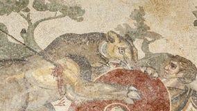 Fragmento Roman Villa Romana del Casale, Sicilia, sitio del mosaico del patrimonio mundial de la UNESCO almacen de metraje de vídeo