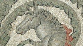 Fragmento Roman Villa Romana del Casale, Sicilia, sitio del mosaico del patrimonio mundial de la UNESCO almacen de video