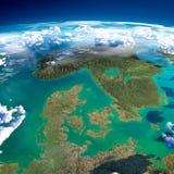 Fragmentos de la tierra del planeta. Dinamarca, Suecia y Noruega stock de ilustración