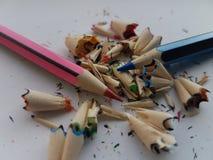Fragmentos de madera del lápiz fotografía de archivo