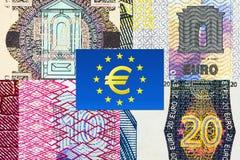 Fragmentos euro de la macro de los billetes de banco Imagenes de archivo