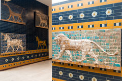 Fragments of the Babylonian Ishtar Gate in the Istanbul Archaeol Royalty Free Stock Image