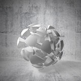 Fragments of big sphere in empty concrete interior. Abstract 3d background with white fragments of big sphere in empty concrete interior Stock Image