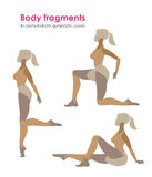 Fragments of body for demonstrating gymnastic poses.Vector silhouette of a woman who practices royalty free illustration