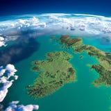 Fragments de la terre de planète. L'Irlande et le R-U Image libre de droits