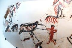 Fragments de vase avec la scène néolithique de chasse Photo stock