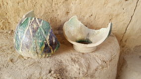 Fragments of dishes made 2200 years ago. The era of Zoroastrianism,located in the ancient city of the Ming Urik, Tashkent, Uzbekistan Royalty Free Stock Photography