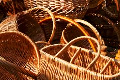 Fragments of empty wicker basket Stock Photos