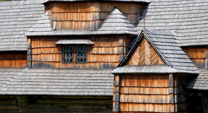 Fragments of facade of the old wooden architecture Stock Photography