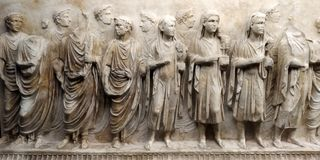Fragments from front of Sarcophagi. Display at Vatican Museum. From 4th AD. Roman ancient city stock image