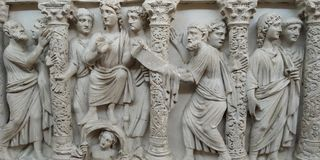 Fragments from front of Sarcophagi. Display at Vatican Museum. From 4th AD. Roman ancient city royalty free stock photography