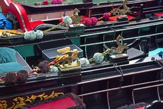 Fragments of gondola. Fragments of traditional venetian gondolas with decorative elements Royalty Free Stock Image