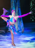Fragments of the Ice show `Ice Odyssey` is taking place on the large cruise ship `Voyager of the Seas` Stock Photos