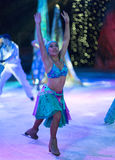 Fragments of the Ice show `Ice Odyssey` is taking place on the large cruise ship `Voyager of the Seas`. M/s VOYAGER OF THE SEAS, BAHAMAS - 15 FEBRUARY 2015 Royalty Free Stock Image