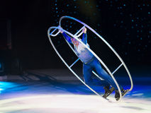 Fragments of the Ice show `Ice Odyssey` is taking place on the large cruise ship `Voyager of the Seas`. M/s VOYAGER OF THE SEAS, BAHAMAS - 15 FEBRUARY 2015 Royalty Free Stock Photo