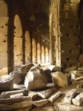 Fragments Inside the Colosseum. Fallen Stone Inside the Ancient Rome Colosseum Stock Image