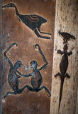 Fragments of the Mentawai tribe drawings in a traditional house. royalty free stock photography