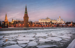 Fragments of  Moscow winter. Ice floes on the Moscow River at the Kremlin in the evening Royalty Free Stock Images