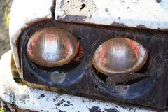 Fragments of an old car. Fragments of an old, abandoned, rusty, romanian car stock photo