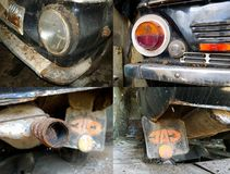 Fragments of the old Soviet car ZAZ 968 Stock Image