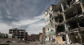 Fragments of partly demolished building Royalty Free Stock Image