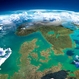Fragments of the planet Earth. Denmark, Sweden and Norway Royalty Free Stock Photography
