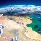 Fragments of the planet Earth. Tunisia stock illustration