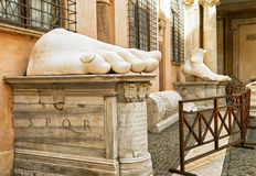 Fragments of a statue of Constantine in the Capitoline Hill, Rom Stock Photo